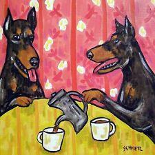 4x4 Doberman Pinscher dog glass art tile coaster gift Jschmetz modern folk tea