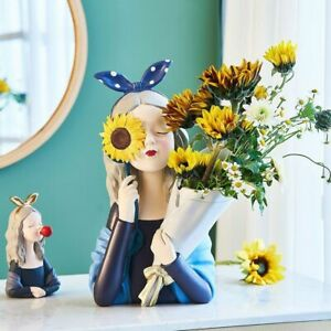 Lovely Girl Flowers Vase Cute Nordic Home Interior Tabletop Decoration Figurine