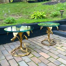 Pair Drexel glass top lily tables attributed to Arthur Court Hollywood Regency