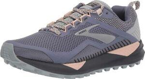 Brooks Women's Cascadia 14 Running Shoe, Grey/Pale Peach/Pearl, 11 B(M) US