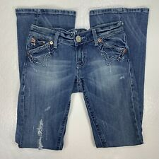 Miss Me Womens Size 26 Flare Jeans Stretch JP4044 Distressed Twist Leg