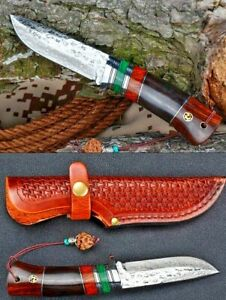 Japanese Collective Hunting Knife Fixed Blade Damascus Steel Bone Wood Handle XS