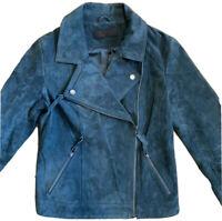 Women's Small  BLANKNYC  Leather Moto Jacket Distressed Leather Dark Green