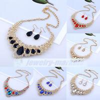 Women Fashion Pendant Crystal Choker Chunky Statement Chain Bib Necklace Jewelry