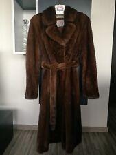 Manteau fur coat mink fourrure de vison d'élevage   marron brun T 38