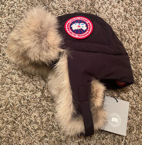 NEW Canada Goose Down Aviator Hat w/ Real Fur Navy Blue Size S/M Small/Medium