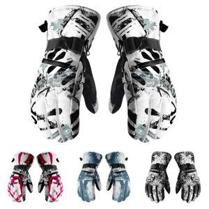 Men Women Adjustable Soft Ski Gloves 3 Fingers Touch Screen Winter Warm Outdoor