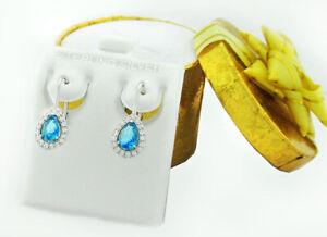GEMSTONE 0.98 Cts BLUE TOPAZ & WHITE SAPPHIRE DANGLING EARRINGS .925 Silver