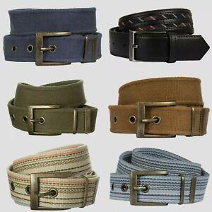 Mens Brass Effect Pin Buckle Woven Canvas Belt Plain/ Stripe/ Faux Leather, New