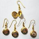 Vintage 1980's Cloisonne Enamel Round Locket Goldtone Earrings (1 pair)