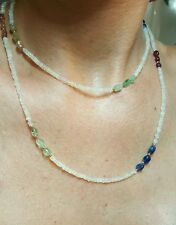 35 inch Ruby Emerald Sapphire nugget Ethiopian fire opal solid gold 14k necklace