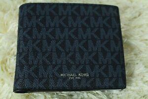NEW MICHAEL KORS MEN'S BLACK & BLUE  WALLET BILLFOLD COINS CARD HOLDER  RRP £110