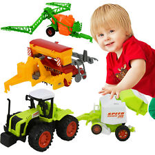 4x4Tractor Friction Farm Toys Playset 1:87 Scale Seeder Baler Sprayer Cultivator