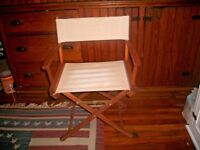 VTG TELESCOPE FOLDING WOODEN DIRECTORS CHAIR WHITE CANVAS~VGUC~