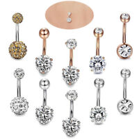 5PCS/Set Stainless Steel Crystal Navel Belly Button Rings Bar Piercing Jewelry