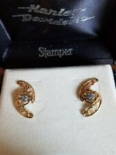 #396 NWT Harley-Davidson women's Stamper gold earrings with March birthstone