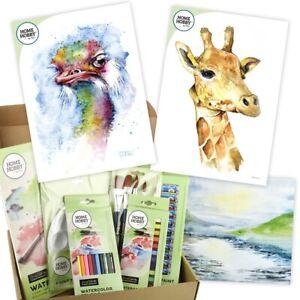 HOMEHOBBY Par 3L Aquarelle Studio Kit Autruche Girafe Art Cadeau Présent Art Set