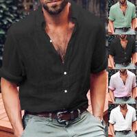 Mens V Neck Long Sleeve Shirts Summer Baggy Casual T-Shirt Tees Tops Blouse Plus