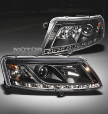 2005-2008 AUDI A6 LED PROJECTOR HEADLIGHT LAMP BLACK R8 STYLE DRL 2006 2007 PAIR