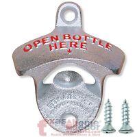 Wall Mounted OPEN BOTTLE HERE Beer Bottle Opener Starr X Sturdy Cast Iron Silver