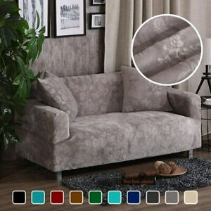 Thick Velvet Sofa Covers Elastic Slipcovers Sectional 1/2/3/4 Seater Plush Warm