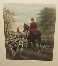 """E G HESTER """"EVENING RETURN TO THE KENNELS"""". AFTER EAS DOUGLAS COLORED ENGRAVING"""