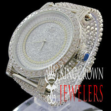 MENS REAL DIAMOND STAINLESS STEEL ICED OUT 14K WHITE GOLD JO RODEO JOJINO WATCH