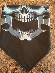 Black and Blue Skull Mask Fleece Lined Biker Bandana
