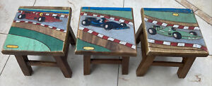 Kids Childrens Wooden Stool / Chair Racing car carving on the top £9.50 each