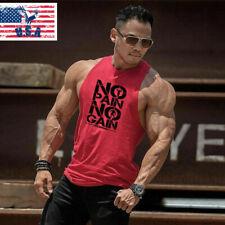 New Men Gym T-Shirt Workout Singlets Sports Top Muscle Bodybuilding Tank Vest !*