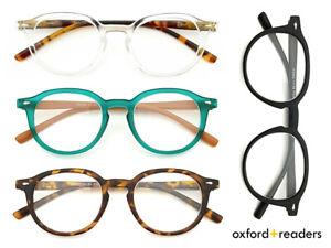 Premium Reading Glasses - Oxford Readers Round Frame Men Women +1.0 +1.5 +2.0 UK