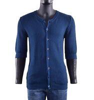 DOLCE & GABBANA RUNWAY Knitted Short Sleeves Cardigan Polo Shirt Blue 05658