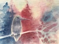 ACEO original Hummingbird painting bird sunset Watercolor art  Listed By Artist