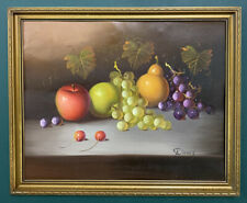 Large Original Still Life Oil On Board Painting In Gold Gilt Frame, Signed
