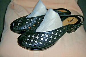 Women's EARTH  Black Leather Open Toes Shoes Size 11 B Slingback Cutout Accent
