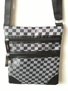 Mens Messenger Man Bag Multi Pocket Cross Body Small Shoulder Purse Black Silver