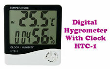 Digital Hygrometer Thermometer Humidity Meter with clock Big LCD Display HTC-1