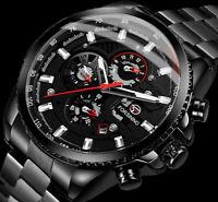 Automatik Multifunktion Herren Armband Uhr Uhren Schwarz Edelstahl Armband Datum