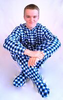 Unisex Adult GÜD NIGHT - Blue Plaid Footed Feety One Piece Pajamas - Adult