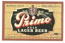 11 oz Primo Pale Lager Beer Label, Irtp, Hawaii Brewing Co., Honolulu, Hi