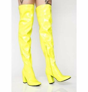 Women's Pointy Toe Patent Leather Over Knee High Boots Block Heels Party Shoes