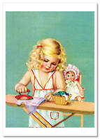 Little Girl ironing clothes dolls toy by Charlotte Becker New Modern postcard