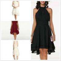 Summer Women Chiffon Halter Neck High-Waist Asymmetric Hem Sleeveless Dress L