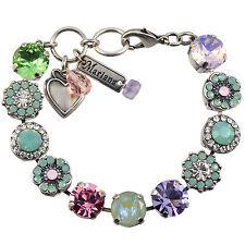 """MARIANA """"Pina Colada"""" Silver Plated Flower Swarovski Crystal Tennis Bracelet, 8"""""""