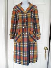 Vintage seersucker navy & orange plaid duster coat size M  double breasted