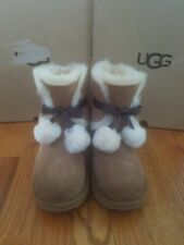 Ugg Kids Girls Gita Pom Pom Boots Size 4 (big kid)  Chestnut  NIB