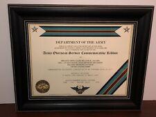 ARMY OVERSEAS SERVICE COMMEMORATIVE RIBBON CERTIFICATE ~Type 1