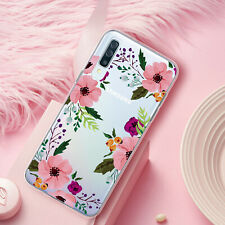 For Samsung Galaxy A20 A30 Pink Floral Flower Clear TPU Case +Tempered Glass