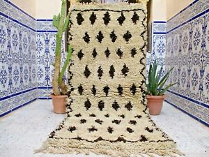 "Vintage Moroccan Azilal Rug Handmade Rug Old Carpet Tribal Berber Wool 6' x 2'6"""