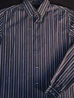 Banana Republic Mens Button Front Long Sleeve Cotton Stripe Shirt Large L